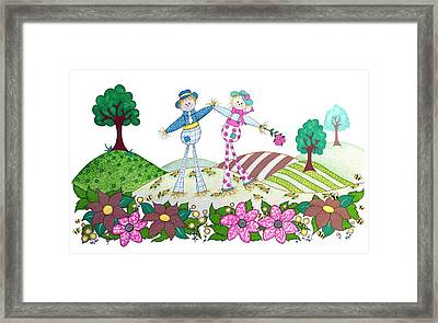 Flower Power Scarecrows Framed Print by Sandra Moore