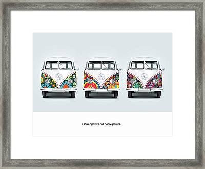 Flower Power Vw Framed Print by Mark Rogan