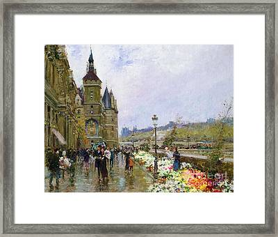 Flower Sellers By The Seine Framed Print by Georges Stein