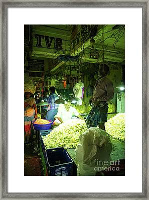 Framed Print featuring the photograph Flower Stalls Market Chennai India by Mike Reid
