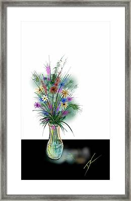 Framed Print featuring the digital art Flower Study One by Darren Cannell