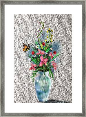 Framed Print featuring the digital art Flower Study Three by Darren Cannell
