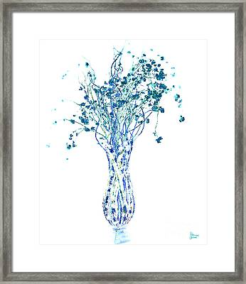 Flower Vase In Blue Framed Print by Jeff Breiman