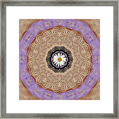 Flower With Wood Embroidery Framed Print