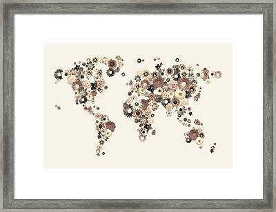 Flower World Map Sepia Framed Print