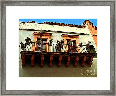 Flowered Balcony Framed Print by Mexicolors Art Photography
