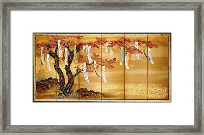 Flowering Autumn Maple With Poem Framed Print
