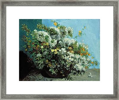 Flowering Branches And Flowers Framed Print by Gustave Courbet