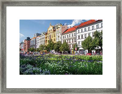 Framed Print featuring the photograph Flowering Wenceslas Square In Prague by Jenny Rainbow