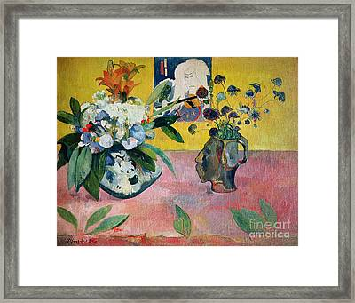 Flowers And A Japanese Print Framed Print by Paul Gauguin