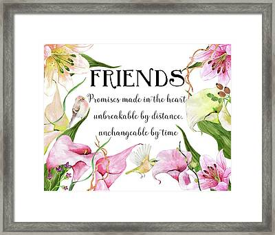Flowers And Birds Framed Print