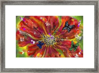 Flowers And Butterflies Framed Print by Darren Cannell