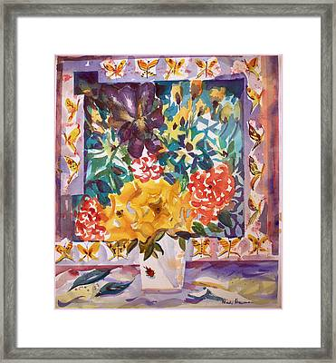 Flowers And Butterflies Framed Print by Mindy Newman