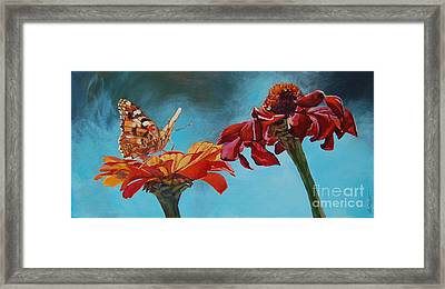 Flowers And Butterfly Framed Print by Janice Wright