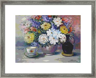 Flowers And Coffee Pot Framed Print
