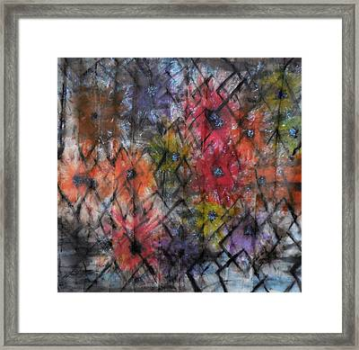 Flowers And Diamonds Framed Print