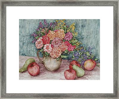Flowers And Fruit Arrangement Framed Print