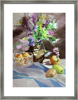 Flowers And Fruit Framed Print by Kris Parins