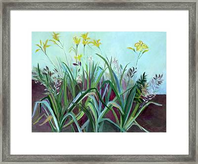 Flowers And Leaves Framed Print by Betty Pieper