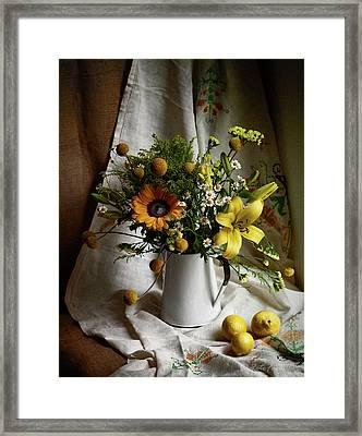 Flowers And Lemons Framed Print