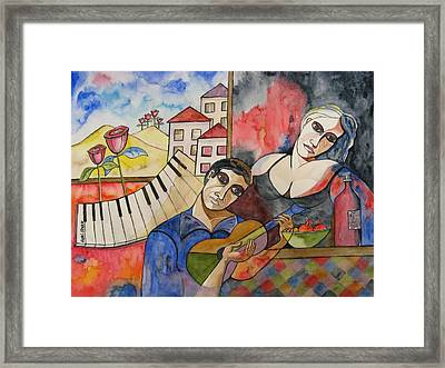 Flowers And Music Framed Print by Guri Stark