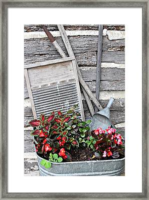 Flowers And Plants In Wash Tub Framed Print by Linda Phelps