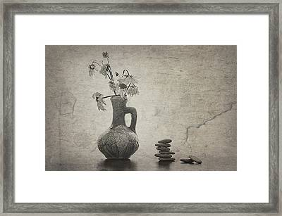 Flowers And Stones Framed Print by larisa Fedotova