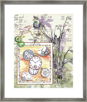Framed Print featuring the drawing Flowers And Time by Cathie Richardson
