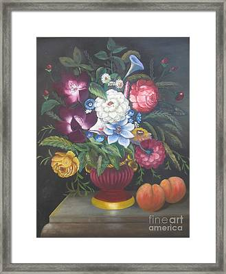 Flowers And Two Peaches Framed Print