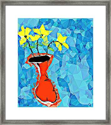 Flowers And Vase Framed Print by Paulo Guimaraes