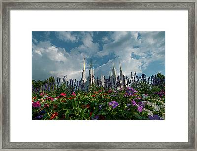 Flowers At Church Of The Latter Day Saints Framed Print