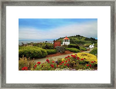 Framed Print featuring the photograph Flowers At The Trinidad Lighthouse by James Eddy