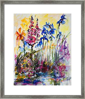Flowers By The Pond Blue Irises Foxglove Framed Print by Ginette Callaway