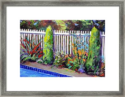 Flowers By The Pool Framed Print
