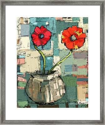 Framed Print featuring the painting Flowers by Carrie Joy Byrnes