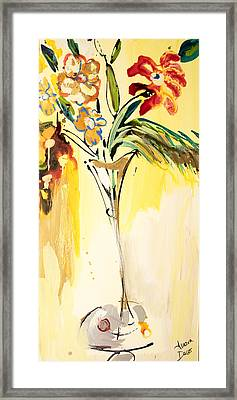 Flowers Flowing In Yellow Framed Print by Amara Dacer