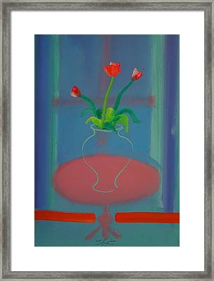 Framed Print featuring the painting Flowers In A Bay Window by Charles Stuart