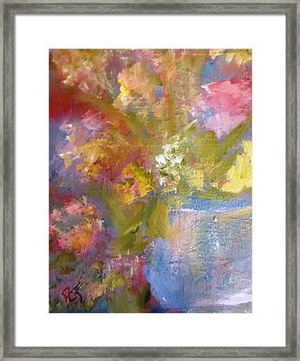 Flowers In A Blue Vase Framed Print by Patricia Taylor
