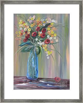 Flowers In A Blue Vase Soft Focus Framed Print
