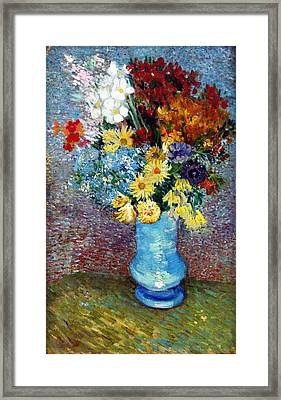 Framed Print featuring the painting Flowers In A Blue Vase  by Van Gogh