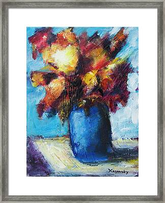 Framed Print featuring the painting Flowers In A Blue Vase. by Yulia Kazansky