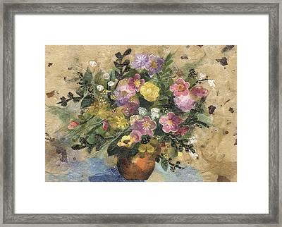 Flowers In A Clay Vase Framed Print by Nira Schwartz