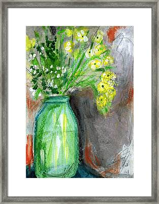 Flowers In A Green Jar- Art By Linda Woods Framed Print