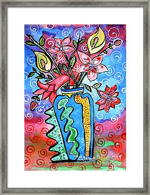 Flowers In A Peculiar Vase Framed Print