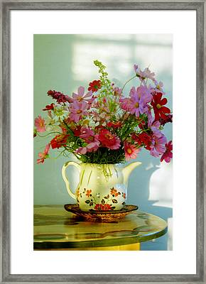 Flowers In A Teapot Framed Print by Patricia Greer