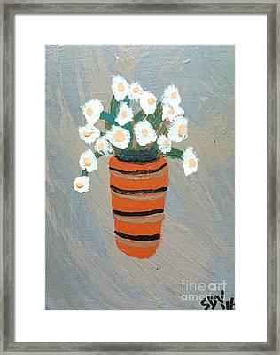 Flowers In A Terra Cotta Pot  Framed Print by Scott D Van Osdol