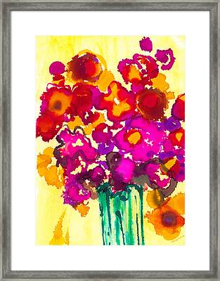 Flowers In A Vase - Modern Art Framed Print by Patricia Awapara