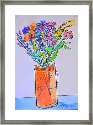 Flowers In An Orange Mason Jar Framed Print