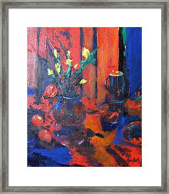 Framed Print featuring the painting Flowers In Blue Vase by Gary Smith