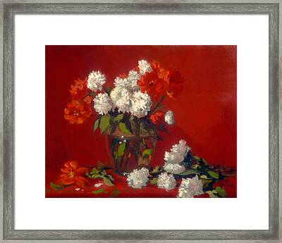 Flowers In Clear Vase    Red Background Framed Print by David Olander